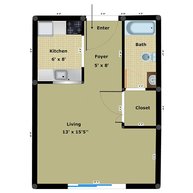 Efficiency 1 bathroom floor plan of Richmond Dairy