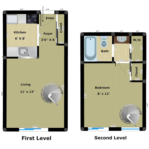 1 bedroom 1 bathroom loft floor plan of Richmond Dairy