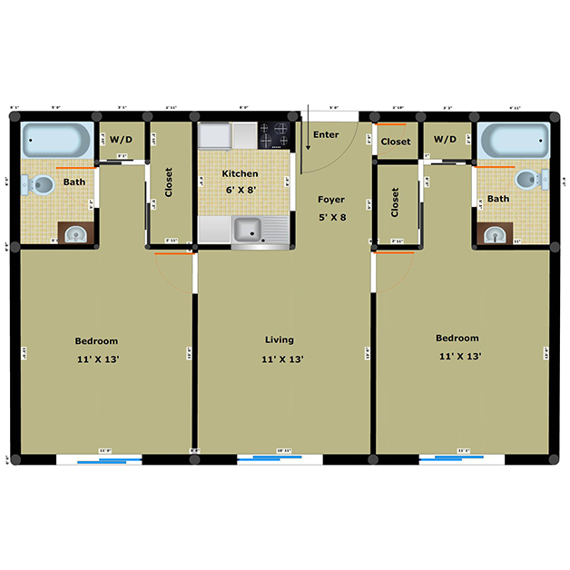 2 bedroom 2 bathroom floor plan of Dairy income based apartments Richmond VA