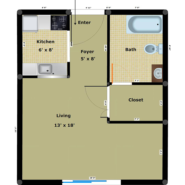 Efficiency 1 bathroom floor plan of Dairy income based apartments Richmond VA